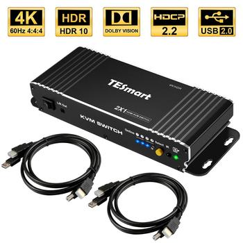 HDMI Switch 4K, TESmart New HDMI 4K@60Hz Ultra HD 2x1 HDMI KVM Switch Supports USB 2.0 Devices Control up to 2 Computers/Servers кабель kvm lenovo 3m msas hd to msas hd 00mj180