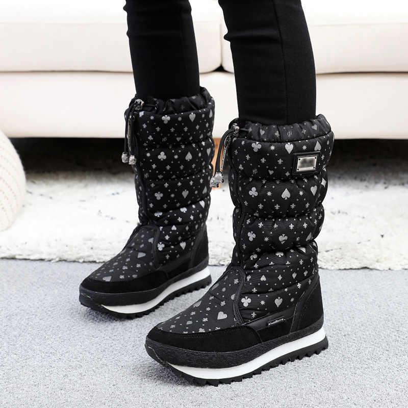 Новинка; женская зимняя обувь из хлопка; большие размеры Шерстяные утепленные бархатные теплые ботинки; водонепроницаемые ботинки для катания на лыжах