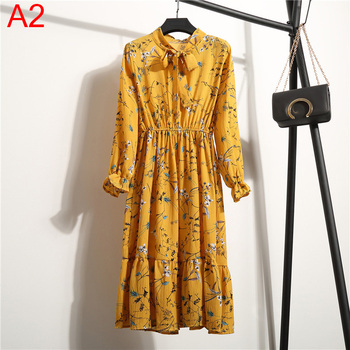 Women Dress Long sleeves Flower Print Boho Style  5