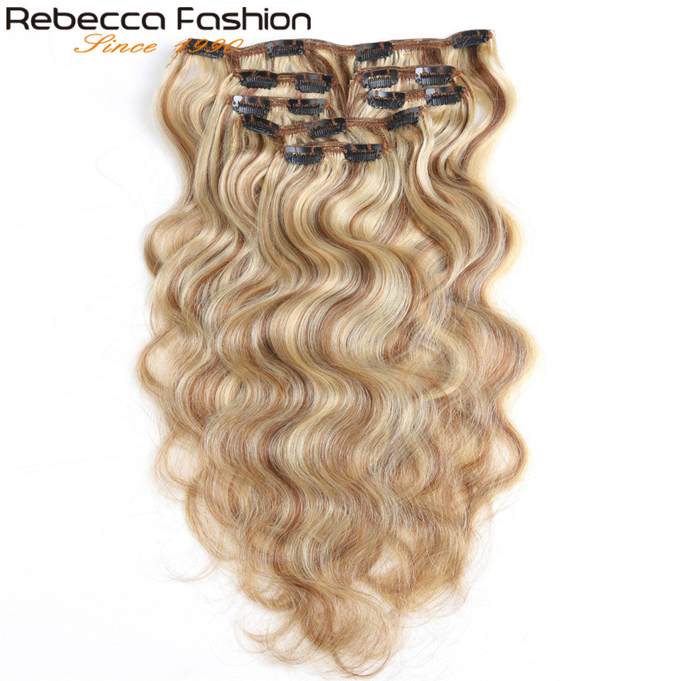 Rebecca Hair 7Pcs/Set 120g Body Wave Remy Clip In Human Hair Extensions Full Head 12-24 Inch Color #1B #613 #27/613 #6/613