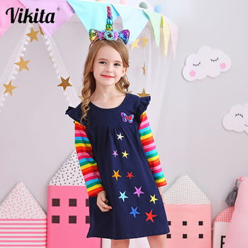 VIKITA Girls Long Sleeve Dresses Children Autumn Clothing for Kids Girls Cotton Dress Toddlers Striped Dresses Baby Girl Clothes dresses lucky child for girls 24 6 dress kids sundress baby clothing children clothes