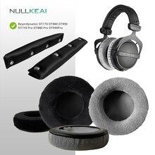 NULLKEAI Samt Ersatz Teile für Beyerdynamic DT770 DT880 DT990 DT770Pro DT880Pro DT990Pro Ohrpolster Stirnband Ohrenschützer