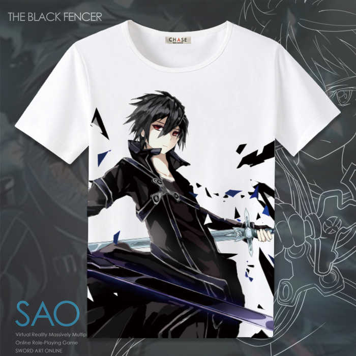 High-Q Unisex Anime Sword Art 온라인 Kirigaya Kazuto Kirito Asuna 반소매 코튼 캐쥬얼 T 셔츠 티셔츠 탑