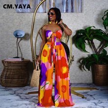 CM.YAYA modny nadruk damski zestaw krótkie bluzki i proste spodnie z szeroką nogawką Streetwear seksowny dres dwuczęściowy strój dresowy