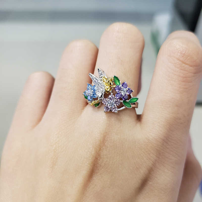 น่ารักดอกไม้ fairy ที่มีสีสัน Zircon หินเคลือบเงินแหวนหญิงหมั้นแฟชั่นของขวัญเครื่องประดับสำหรับลูกสาว