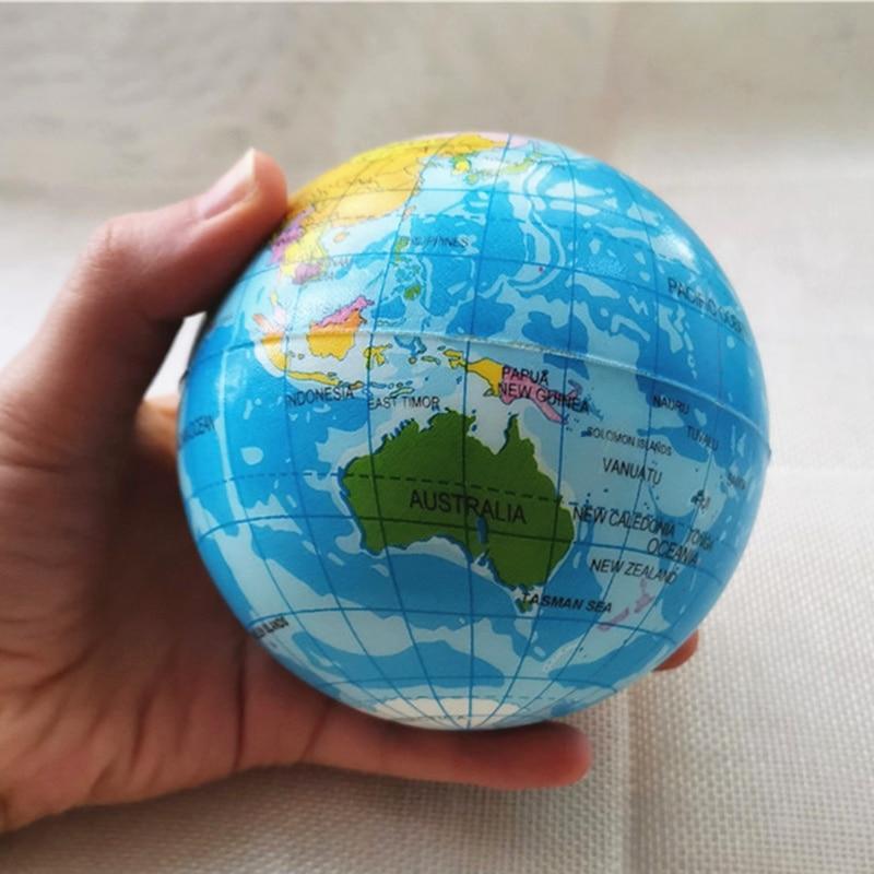 10cm Anti Stress Balls Foam Sponge PU Ball World Map Globe Planet Earth Squeeze Balls Toys For Kids Children