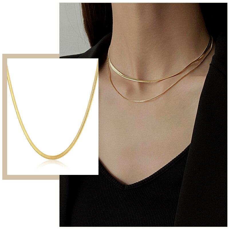 Simples 3mm cobra corrente colares para mulher cor do ouro espinha de peixe ligação gargantilhas sólido metal aço inoxidável candid festa jóias