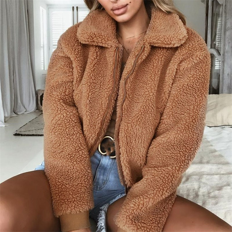 Winter Elegant Faux Fur Coat Fashion Autumn Winter Warm Solid Color Fur Jacket Thick Warm Fur Female Plush Casual Outerwear