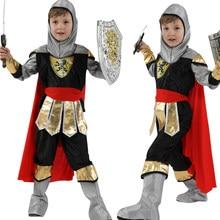 Costumes de chevalier guerrier Royal pour enfants, déguisement de carnaval Cosplay romain médiéval pour garçons