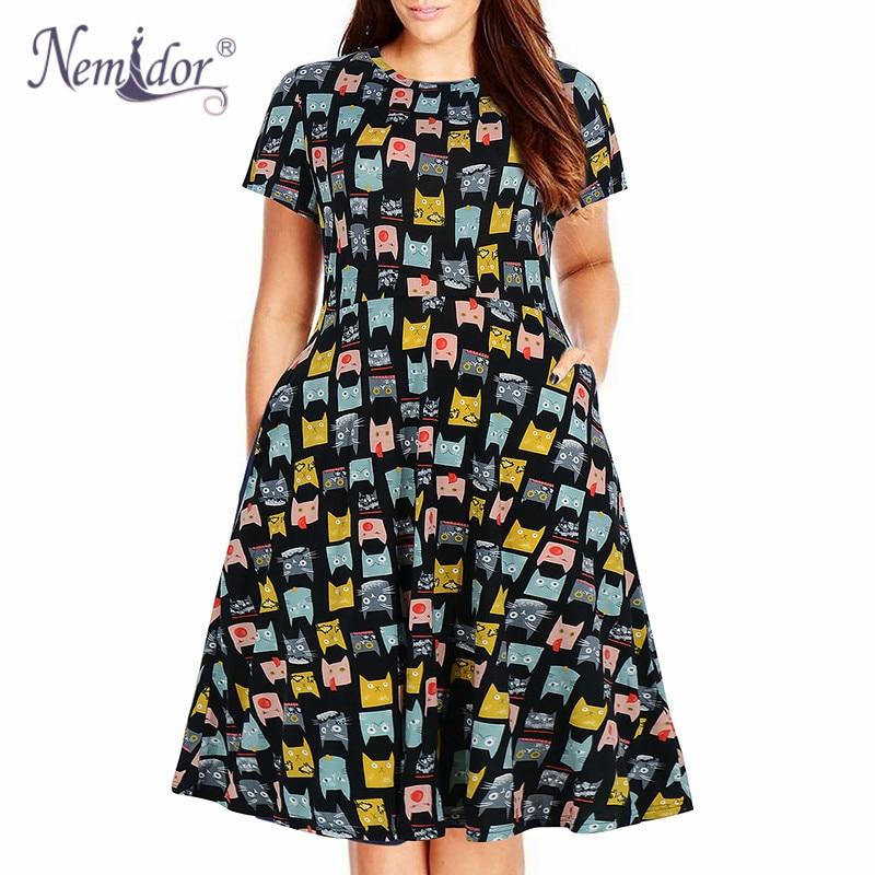 Nemidor Women Casual O-neck Short Sleeve 50s Party A-line Dress Vintage Print Midi Plus Size 8XL 9XL Swing Dress With Pockets