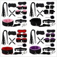 BDSM-juguetes sexuales para adultos, esposas de felpa, correa de látigo, cuerda, ataduras de cama Sexy, Juguetes sexuales para parejas, conjuntos para adultos, 10 Uds.