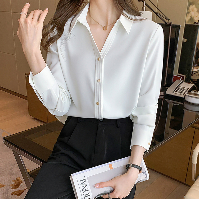 Spring Loose Temperament Vertical Sense Blouse Metal Buttons Fashion Women's Long-sleeved White High-end Satin Chiffon Shirt 5