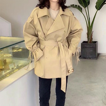 Trench Coat New Fashion Women Long Trench Coat Spring Vintage Belt Double Breasted Khaki Black Trench Outwear Slim Office Coat cheap Young17 Full Broadcloth Casual Polyester Pockets Solid REGULAR 22643157 Turn-down Collar Mid-Length Long Sleeve Notched Lapel
