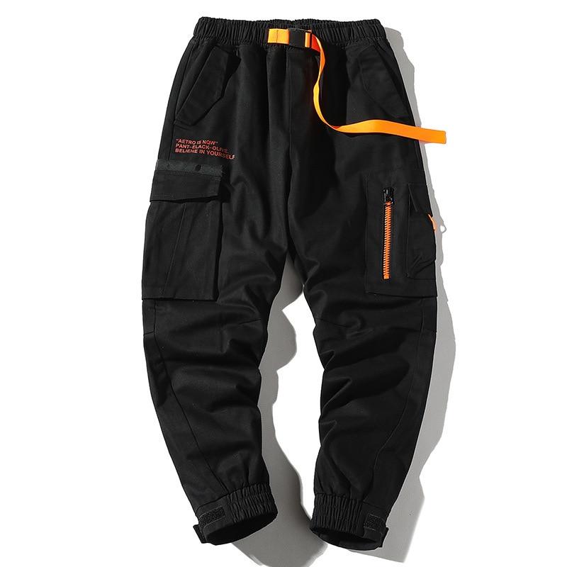 2019 Autumn Mens Harem Pants Streetwear Jogger Ribbons Trousers Men Hip Hop Multi-pocket Cargo Pants Trousers Letter Printed