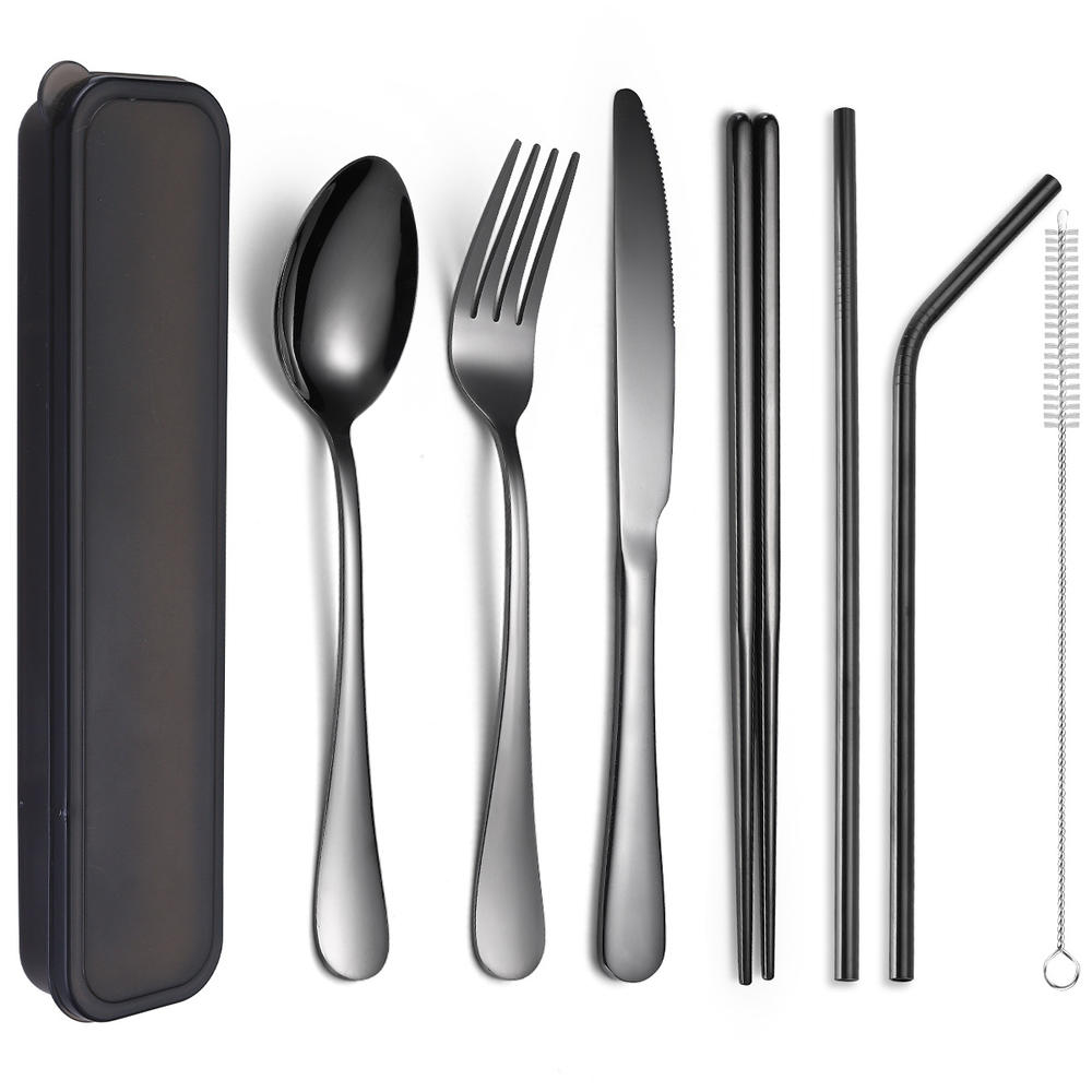 Spoon Camping Picnic Utensil Travel Working Hiking Cutlery Set with Neoprene Case. Chopsticks J/&F 8 Piece Stainless Steel Flatware Sets Knife Fork