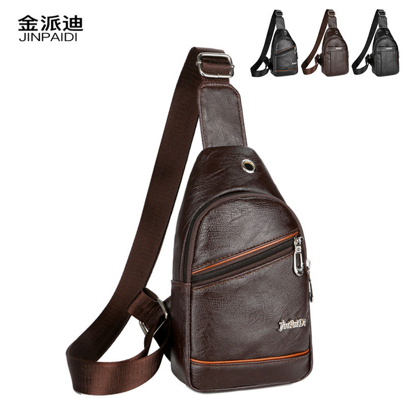 Cross Border New Style Pu MEN'S Bag Chest Pack Headphone Jack Chest Bag Anti-Spillage Wearable Business Simple Shoulder Bag AliE