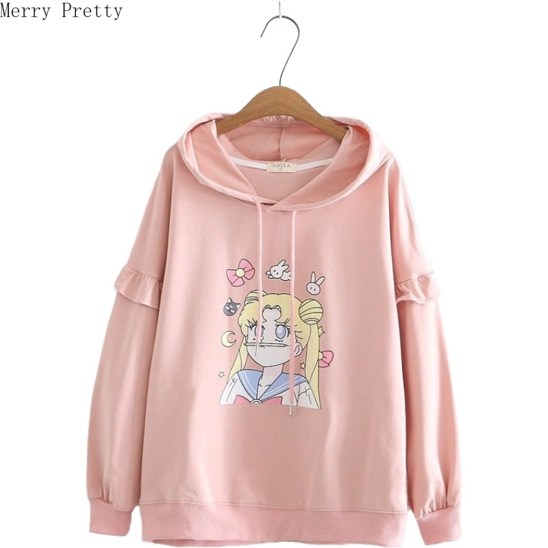Women Sweet Style Hooded Sweatshirt Cartoon Print Ruffles Patchwork Hoodies 2020 Spring Loose Long Sleeve Girl Casual Pullovers