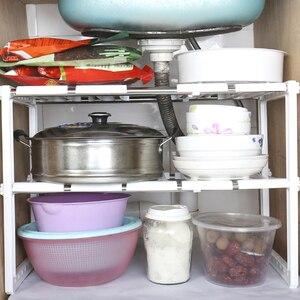 Image 5 - Tutucu mutfak paslanmaz çelik zemin tipi ayarlanabilir uzatılabilir çift katmanlı yemekleri depolama rafı altında çok fonksiyonlu raf