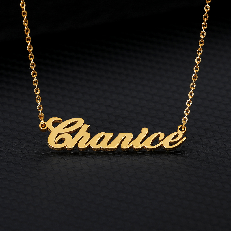 Personalized Custom Nameplate Necklaces For Women Men Gold Silver Stainless Steel Chain Name Pendant Necklace Fashion Jewelry