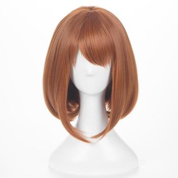 цена на Anime My Hero Academy Ochako Uraraka Pear Short Synthetic Brown Wig Anime Cosplay Wig + Cap + Free Shipping