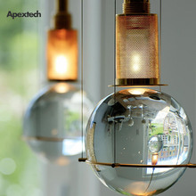 Elegant Glass Crystal Ball Pendant Light Nordic Living Hanging Lamp Store Restaurant Hotel BedRoom Lighting Fixture Deco Lights