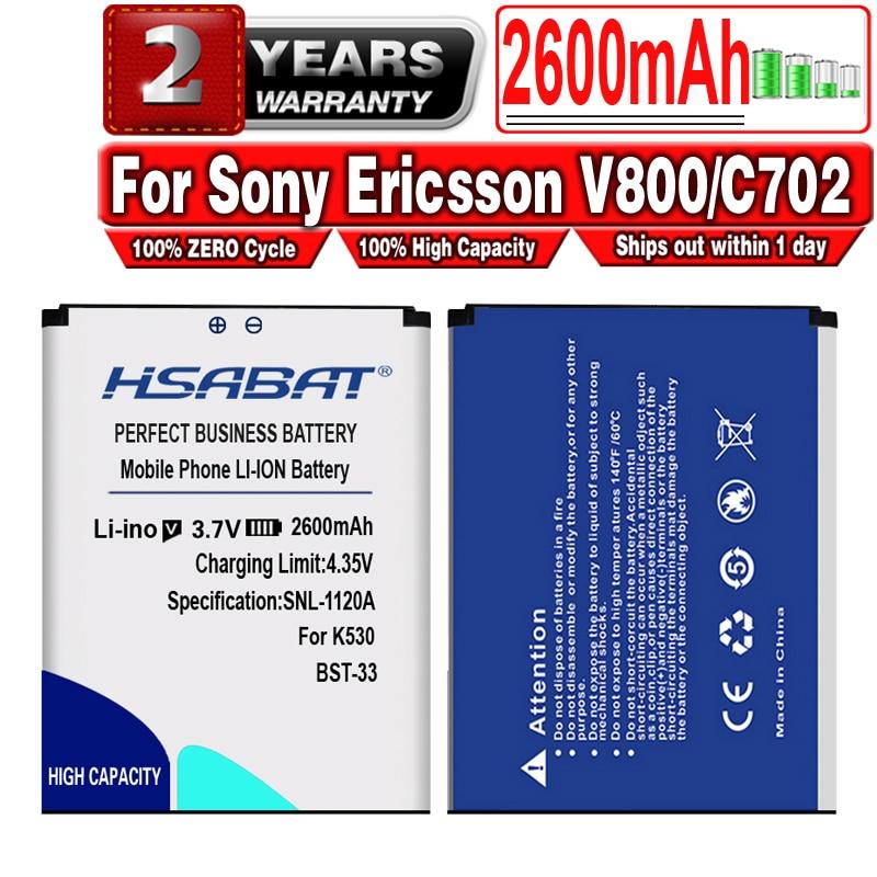 HSABAT 2600mAh BST 33 / BST 33 аккумулятор большой емкости для Sony Ericsson V800/C702/C901/C903/F305/G502/G700/G705/G900/J105/K530i|Аккумуляторы для мобильных телефонов|   | АлиЭкспресс - Аккумуляторы