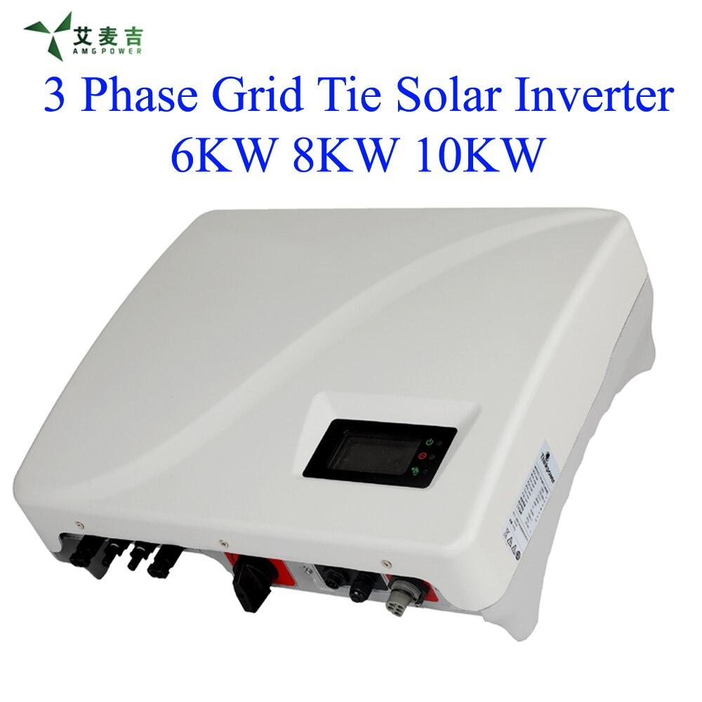 6KW 8KW 10KW MPPT grille cravate solaire onduleur étanche IP65, DC commutateur par défaut, communication RS485