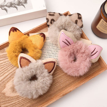 Candy Color Faux Fur Hair Rope Furry Bear Cat Ears Plush Scrunchies Women Cute Elastic Hair Bands Ponytail Band Hair Accessories image