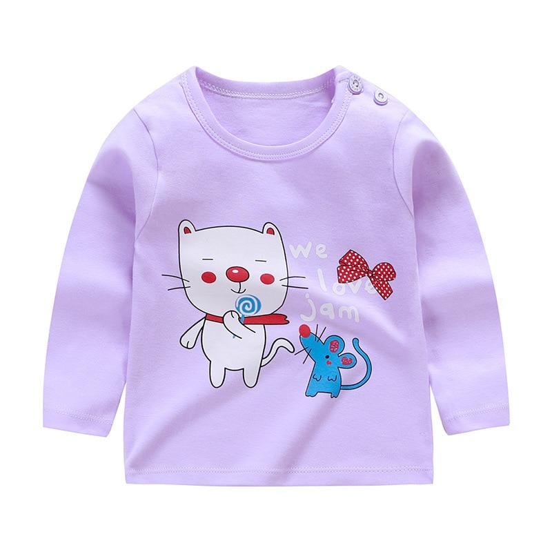 От 6 месяцев до 5 лет унисекс; сезон осень-зима; хлопковая футболка с длинными рукавами и героями мультфильмов; футболки для маленьких мальчиков и девочек; детская повседневная одежда; одежда с круглым вырезом - Цвет: Q53