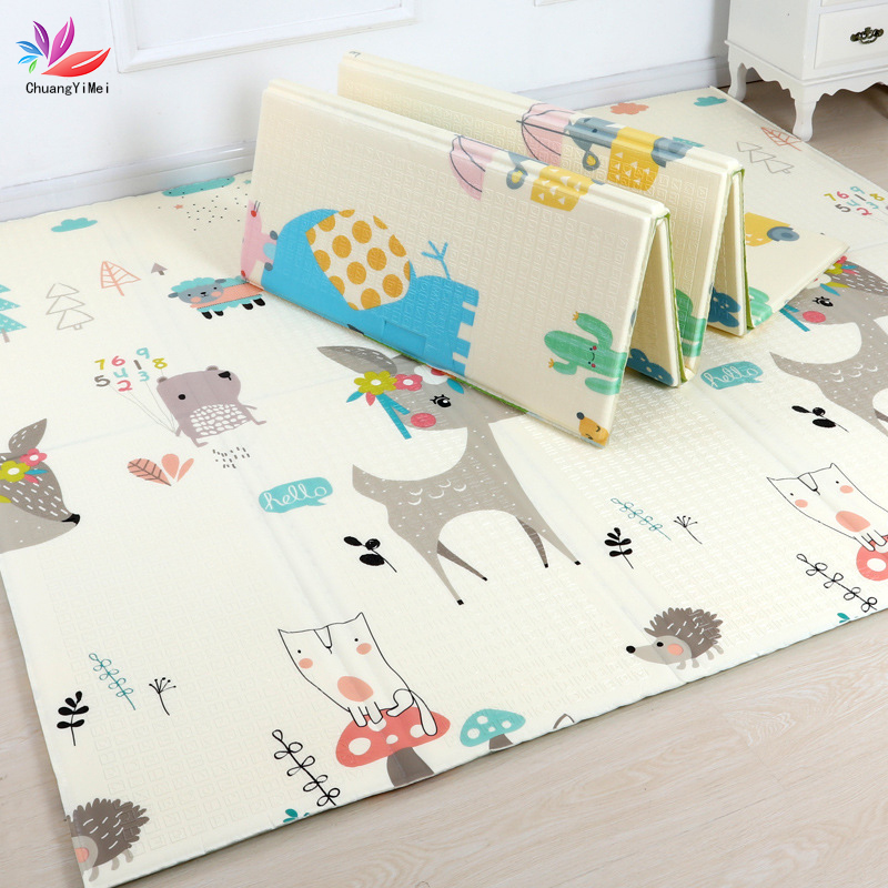200*180cm Baby Play Mat Foldable Cartoon Xpe Puzzle Children's Mat Double-Sided Baby Climbing Pad Kids Rug Baby Games Mats M057