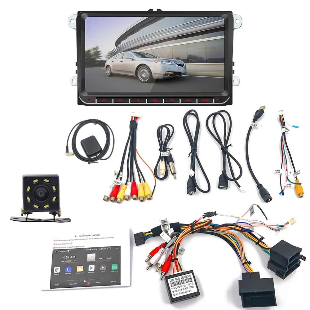 Android 9 ''Mobil Multimedia Player Gps Navigasi 2 DIN Autoradio Stereo Video Bluetooth MP5 Radio Mobil Untuk Volkswagen Universal