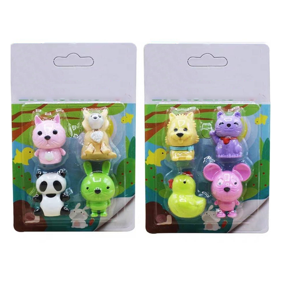 Mouse Hero Rabbit Leader Shaped Eraser Set  Promotion Kawaii Stationery School Supplies Gift For Kid Animal Shape Pencil Eraser