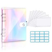 A6 Clear Soft PVC Notebook Binder Cover Planner 6-Ring Loose-Leaf Folder Cash Budget Envelope System with 8 PCS Zipper Pockets
