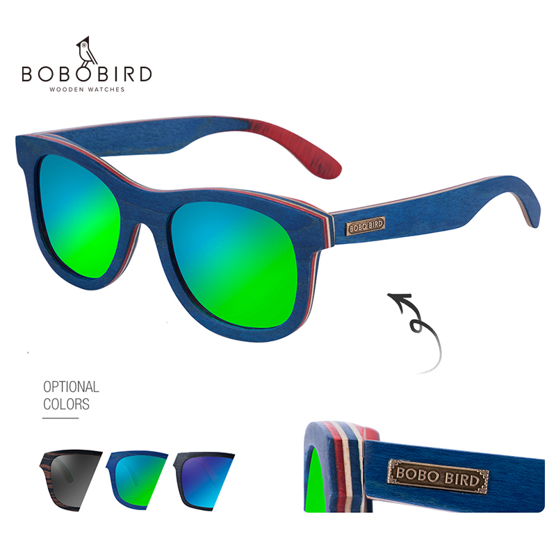 BOBOBIRD Fashion Wooden Sunglasses Men Women Sunglasses Eye Wear Polarized UV400 <font><b>Lens</b></font> Luxury lunette de soleil femme in Box Gift image