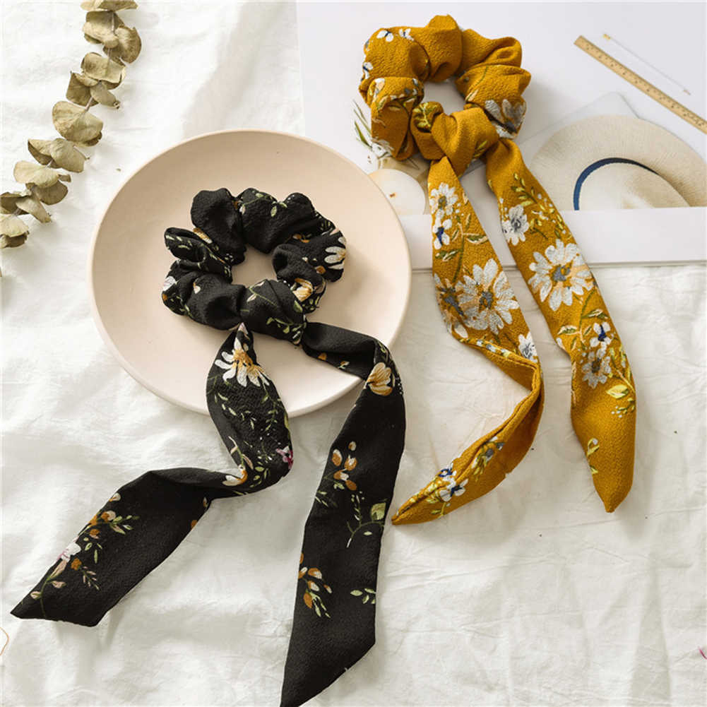 Women Vintage Knot Scrunchies Long Ribbon Floral Print Hair Ties DIY Girls Ponytail Hair Accessories Soft Bow Elastic Hair Bands