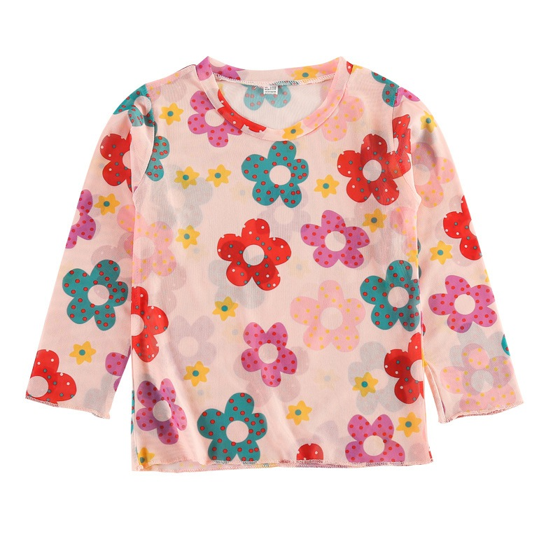 T-Shirt Children Long-Sleeve Skinsuits Flowers Girls Fashion Summer Rash-Guard 3-8-Years