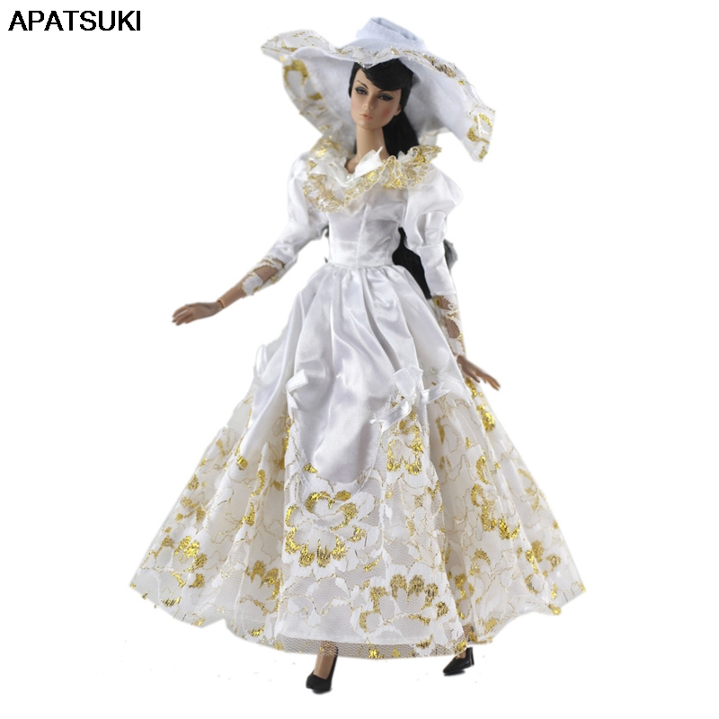 White Gold Fashion Doll Clothes For Barbie Doll Outfits & Hat Princess 1/6 Doll Accessories Party Dress For Barbie Doll Clothes