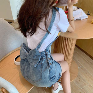 Denim Skirts Jeans Suspenders Pocket Women Summer Button Zipper Female NK03 Bow-Strap