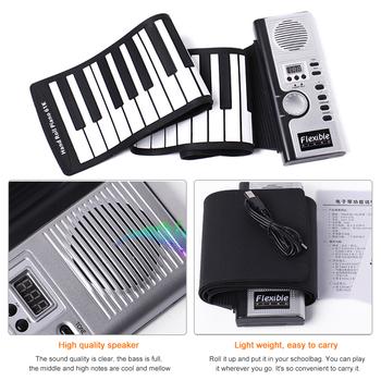 Składane silikonowe pianino muzyczne przyjemne materiały na instrumenty 61 klawiszowe pianino elektroniczne dla początkujących tanie i dobre opinie Hand Roll Up Piano Silicon plastic Black White 61 key standard piano key 128 international standard 128 international standard rhythm