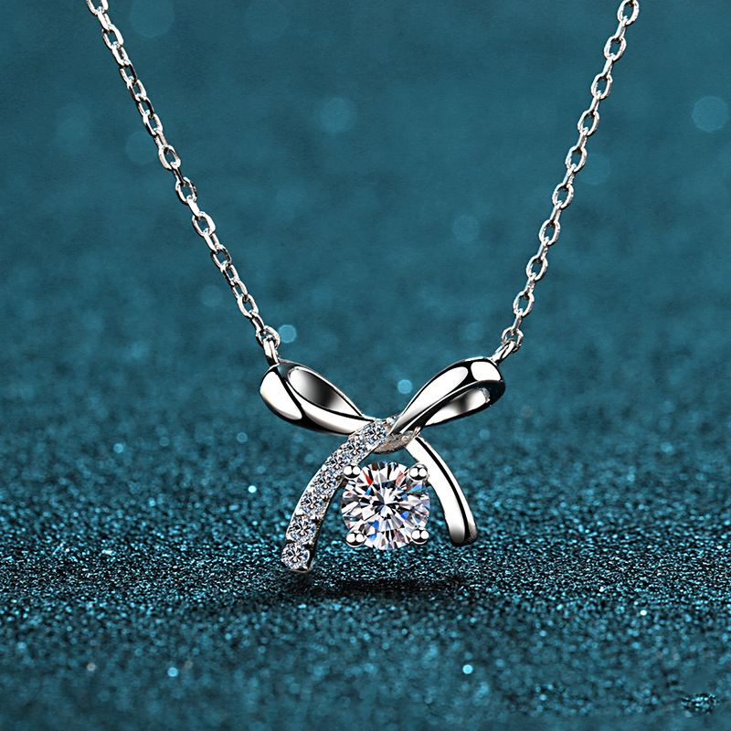 BOEYCJR Bow 925 Silver 0.5ct F Color Moissanite VVS Engagement Elegant Wedding Pendant Necklace For Women Anniversary Gift