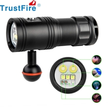 Trustfire DF30 Diving Video Flashlight 4 Color Photo Video Underwater Lamp with Dimming Switch 32650 Battery Torch Light Lantern