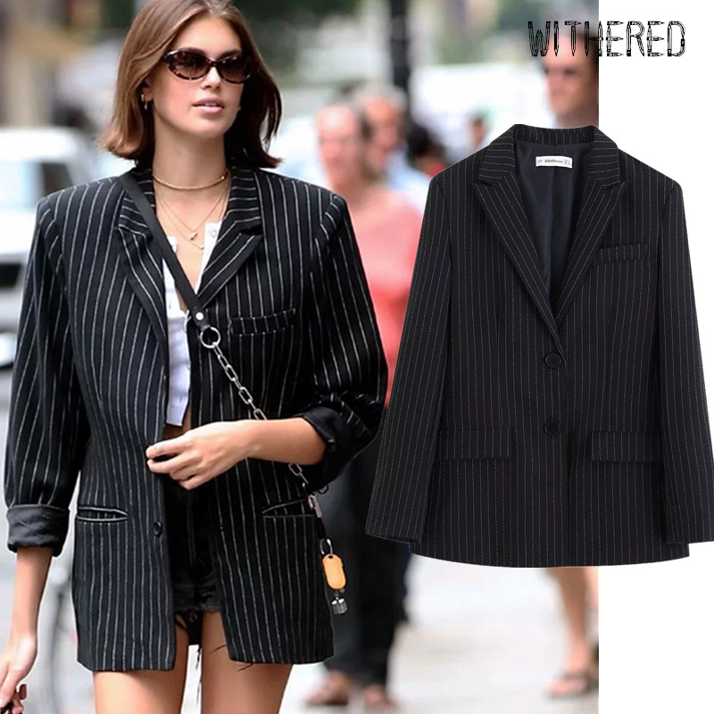 Withered Fashion Blogger England Vintage Striped Boyfriend Oversize Blazer Feminino Blazer Mujer 2019 Women Blazers And Jackets