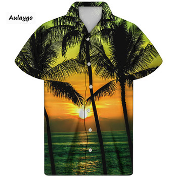 Hawaiian Shirt Coconut Tree Pineapple Print Men Cuban Guayabera Shirt Short Sleeve Turn-down Collar Summer Clothing 2020 Koszula цена 2017