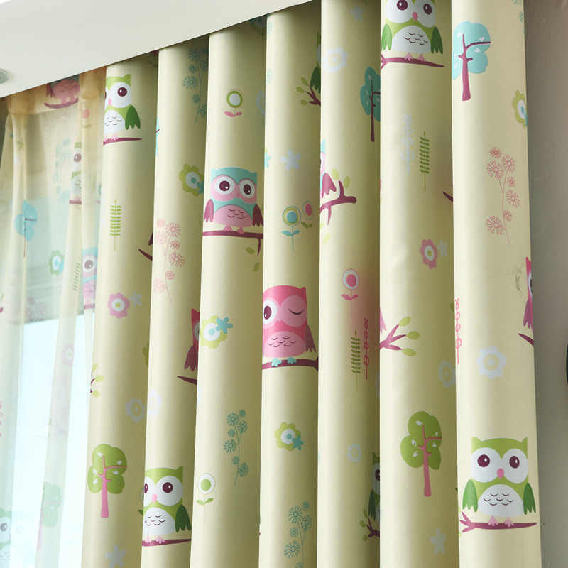 New Curtains for Living Dining Room Bedroom Dressed Calico Owl  Cartoon Children Boy Girl Room Curtains