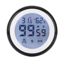 Digital Round LCD Indoor Backlight Touch Screen Hygrometer Time Temperature Humidity Clock Thermometer with Time Alarm onewell high quality 3in1 digital lcd clock screen car auto vehicle time clock thermometer voltage two color luminous