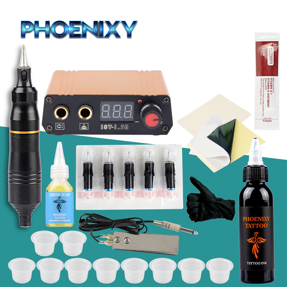 Professional Tattoo Pen Kit Rotary Machine Set LCD Power Supply Permanent Ink Pigment Body Art Makeup Complete Rotary Pen Set