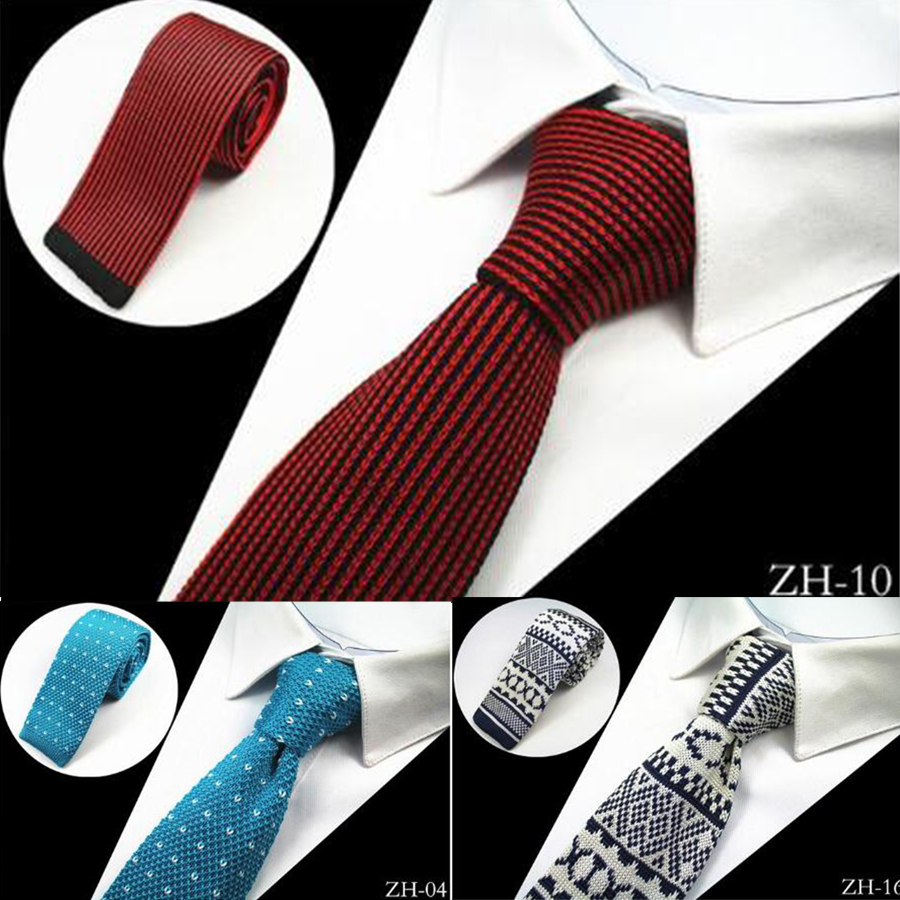 Ricnais New Design Fashion Knit Men Tie Slim Mens Knitted Neck Ties Cravate Narrow Skinny Neckties For Men Suit Wedding Party