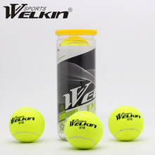 WELKIN 3Pcs/Pack Elastic Rubber Tennis Ball Resilience Durable Tennis Practice Ball School Fun Club Competition Training Ball