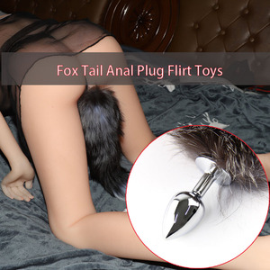 New Fox Tail Cute Anal Plug Dildo Sex Toys Fox Cosplay Tail Butt Stainless Bead Plush For Women/Man Adults Stimulator Flirt