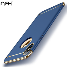 NFH Luxury Plating Plastic Protective Case For Apple iPhone 5 5S SE 6 X XS XR Max 6S Plus 7 8 Mobile Phone Cover On